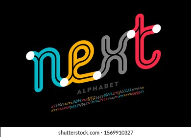 One line style font design, single continuous line alphabet, vector illustration