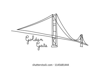 One line style golden gate bridge. Simple modern minimaistic style vector.