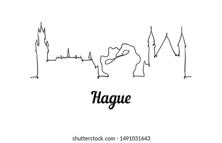 One line style Hague skyline. Simple modern minimalistic style vector. Isolated on white background.