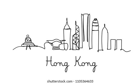 One line style Hong kong city skyline. Simple modern minimaistic style vector.