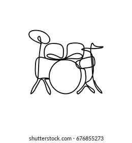 One line style illustration drum kit instrument. Modern and minimalism style vector.