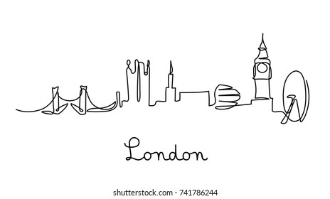One line style London city skyline. Simple modern minimalistic style vector.