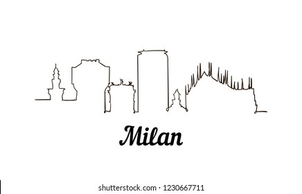 One line style Milan sketch illustration.