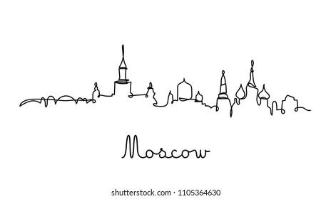 One line style Moscow city skyline. Simple modern minimaistic style vector.