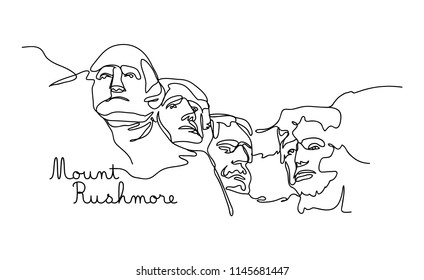 One line style Mount rushmore. Simple modern minimaistic style vector.