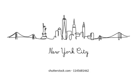 One line style New York City skyline. Simple modern minimaistic style vector.