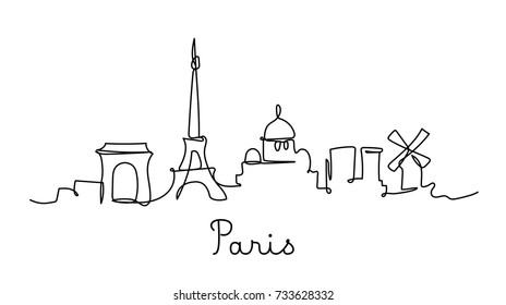 One line style Paris city skyline. Simple modern minimalistic style vector.