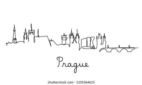 One line style Prague city skyline. Simple modern minimaistic style vector.