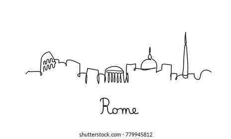 One line style Rome city skyline. Simple modern minimalistic style vector.