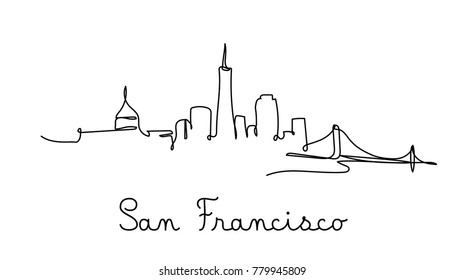 One line style san francisco city skyline. Simple modern minimalistic style vector.