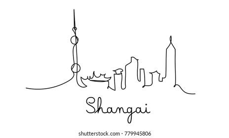One line style Shangai city skyline. Simple modern minimalistic style vector.