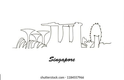 One line style Singapore city skyline. Simple modern minimaistic style vector.