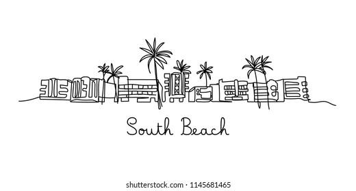 One line style South beach. Simple modern minimaistic style vector.