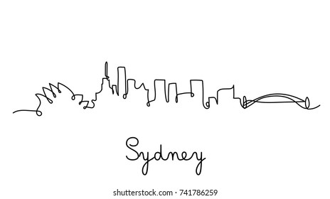 One line style sydney city skyline. Simple modern minimalistic style vector.
