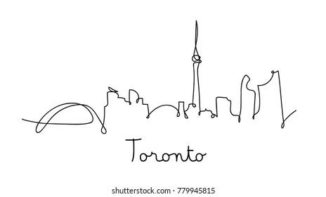 One line style Toronto city skyline. Simple modern minimalistic style vector.