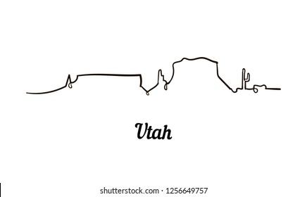 One line style Utah skyline. Simple modern minimaistic style vector.