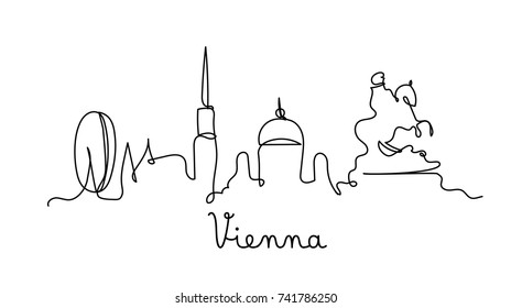 One line style Vienna city skyline. Simple modern minimalistic style vector.