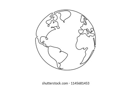 One line style world. Simple modern minimaistic style vector.