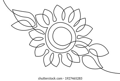 One line sunflower element. Black and white monochrome continuous single line art. Floral nature Woman day gift romantic date illustration sketch outline drawing