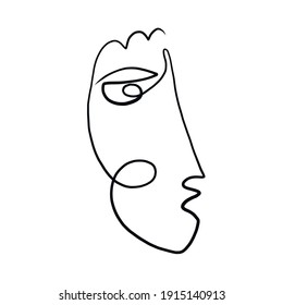 One line surreal face. Abstract linear art drawn by Cubist artist in monochrome minimalism style. Vector design for print, decor, poster, pattern, art for clothes.