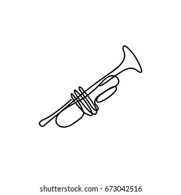 One line trumpet design. Hand drawn minimalism style vector illustration.