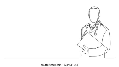 one line vector drawing of hospital doctor standing holding patient papers