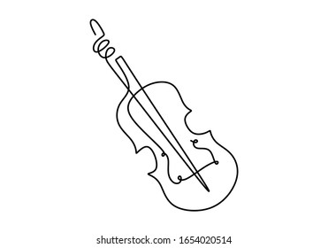 One line violin. Continuous single hand drawn minimalism. Vector illustration classical music instrument drawing.