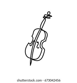 One line violin design. Hand drawn minimalism style vector illustration.