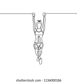 One line woman with fit body hanging on the pullup bar. Vector illustration.