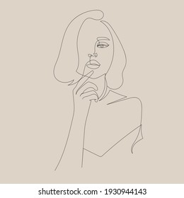 One line woman portrait. Hand drawn abstract face.  Minimal art. Trendy style.