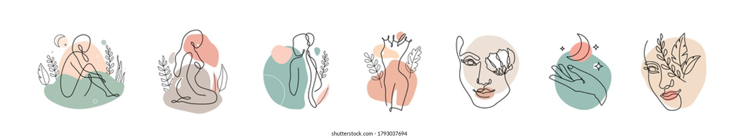 One line woman seamless pattern vector background. Style wallpaper template with female faces, hands, posture in modern simple linear style. Beauty fashion design.