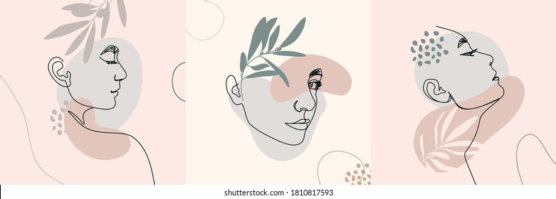 One Line Woman's Faces. Continuous line Female Portrait in Profile With Geometric Shapes and Floral Elements In a Modern Minimalist Style. Vector Illustration For Posters, t-shirts prints, avatars