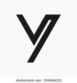 One Line Y V Letter Logo Design. Unusual Y V letter vector icon template. Editable.