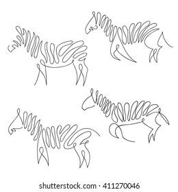 One line zebra design silhouette set. Hand drawn minimalism style vector illustration