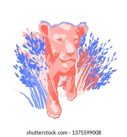 One lion cub or female lion walking out of the bushes. Abstract graphic illustration drawn in the technique of rough brush