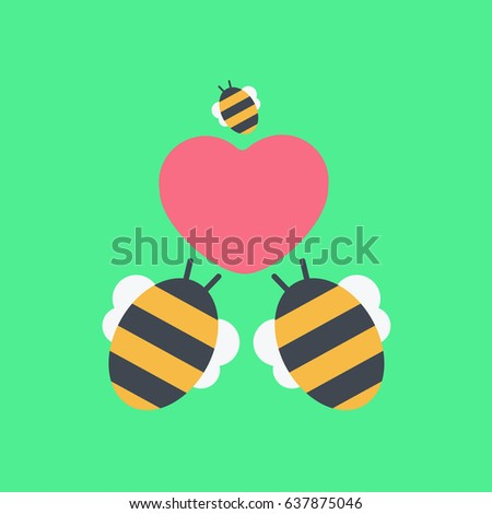 One Little Cute Baby Bee Couple Stock Vector Royalty Free