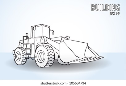 One Loader excavator construction machinery equipment isolated vector