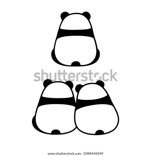 Image Vectorielle De Stock De Un Seul Panda Vue Arrière Et