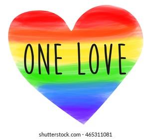 one love. heart rainbow