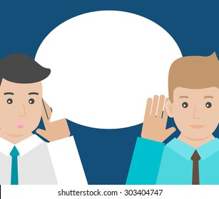 One man is holding hand at his ear and listening, the other  man is saying. Hearing and speaking, vector illustration