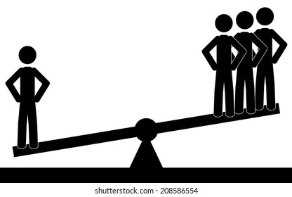 One man is more heavy than three.It is a stick figure vector. EPS10