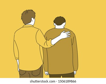 One man is patting the other man's shoulders and comforting him. hand drawn style vector design illustrations.