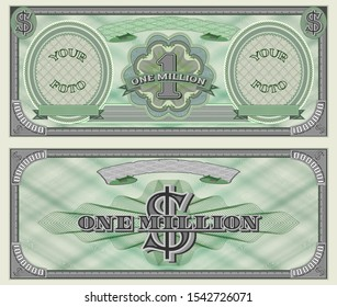 One million dollars green banknote sample with two ovals for your photos