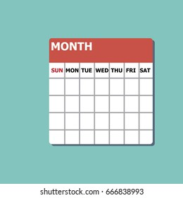 one month calendar-vector