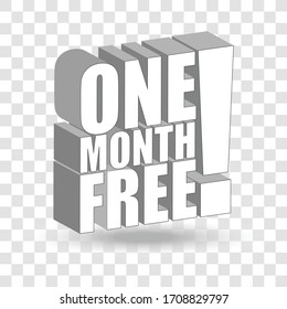 One month free label on transparent background. Vector
