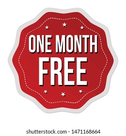 One month free label or sticker on white background, vector illustration