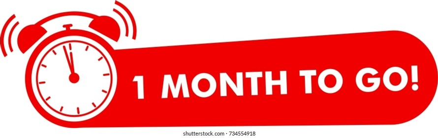 One month to go label, red flat with alarm clock, promotion icon, best deal symbol