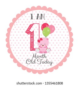 I am one month old today - Baby Milestone card. Cute design with a pink background and with Teddy bear and Balloons.