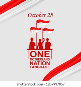 One Motherland, one nation, one language. Happy Indonesian Youth Pledge (Sumpah Pemuda) vector illustration. Suitable for greeting card, poster and banner.