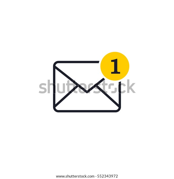 One New Incoming Message Envelope Notification Stock Vector
